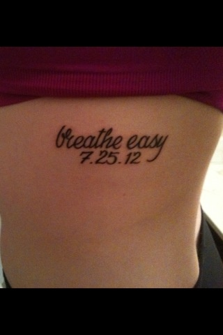 My closest friend Allie passed away of cystic fibrosis on July 25, 2012. I love her more than anyone. This was the tattoo I got in honor of her. Rest in Peace baby girl