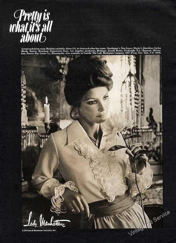 """1969 """"Pretty is what it's all about"""" Nice Lady Manhattan Fashion Ad 