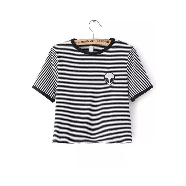 Black White Crew Neck Striped Alien Print Crop T-Shirt (£6.30) ❤ liked on Polyvore featuring tops, t-shirts, striped crop top, stripe tee, black white striped t shirt, striped tee and crop top
