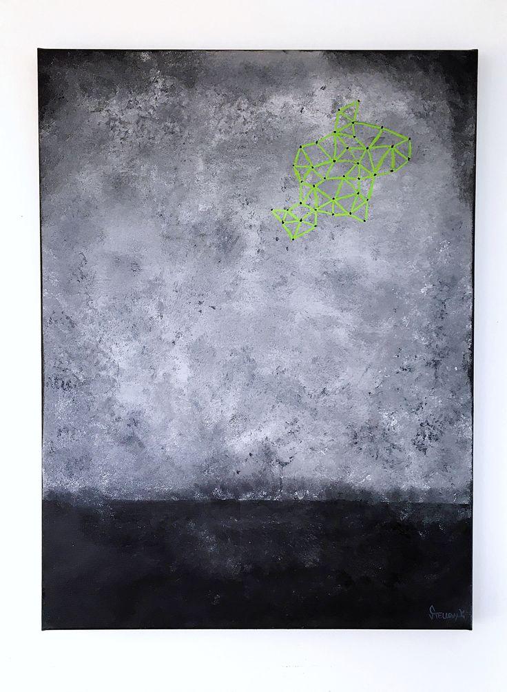 """""""Green objekt in sky"""" 60x80cm by Stellan Kristiansson"""