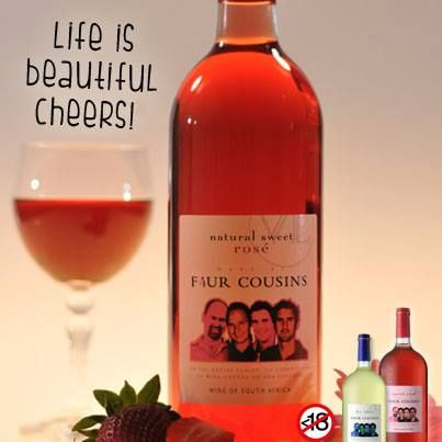 A glass of Four Cousins Wine is a little gift from nature and the Cousins.