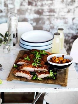 Roast confit pork belly with cumquat relish.