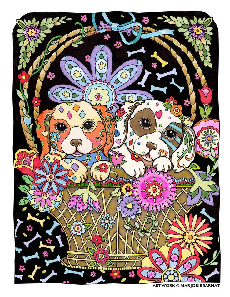 creative haven dazzling dogs coloring book by marjorie sarnat two pups in a basket colored