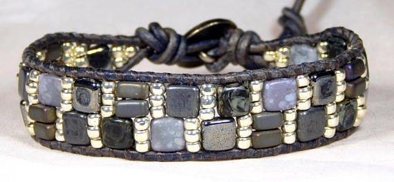 Bead Loom Bracelet Leather Wrap Bracelet Gray Cobblestone Seed