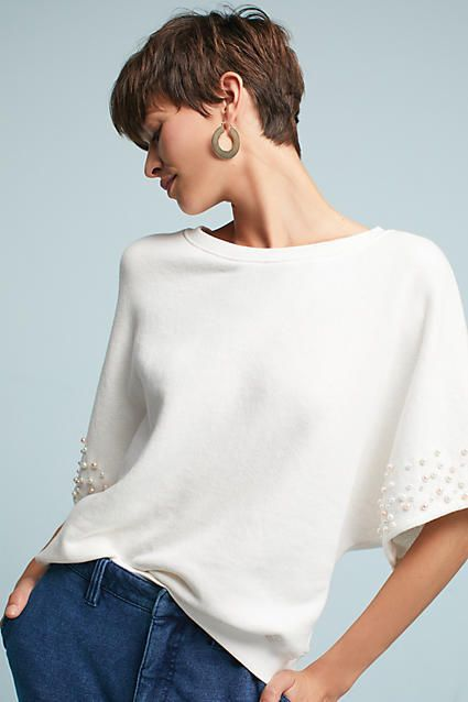 Anthropologie Pearl-Embellished Sweatshirt.#AnthroFave #Affiliate