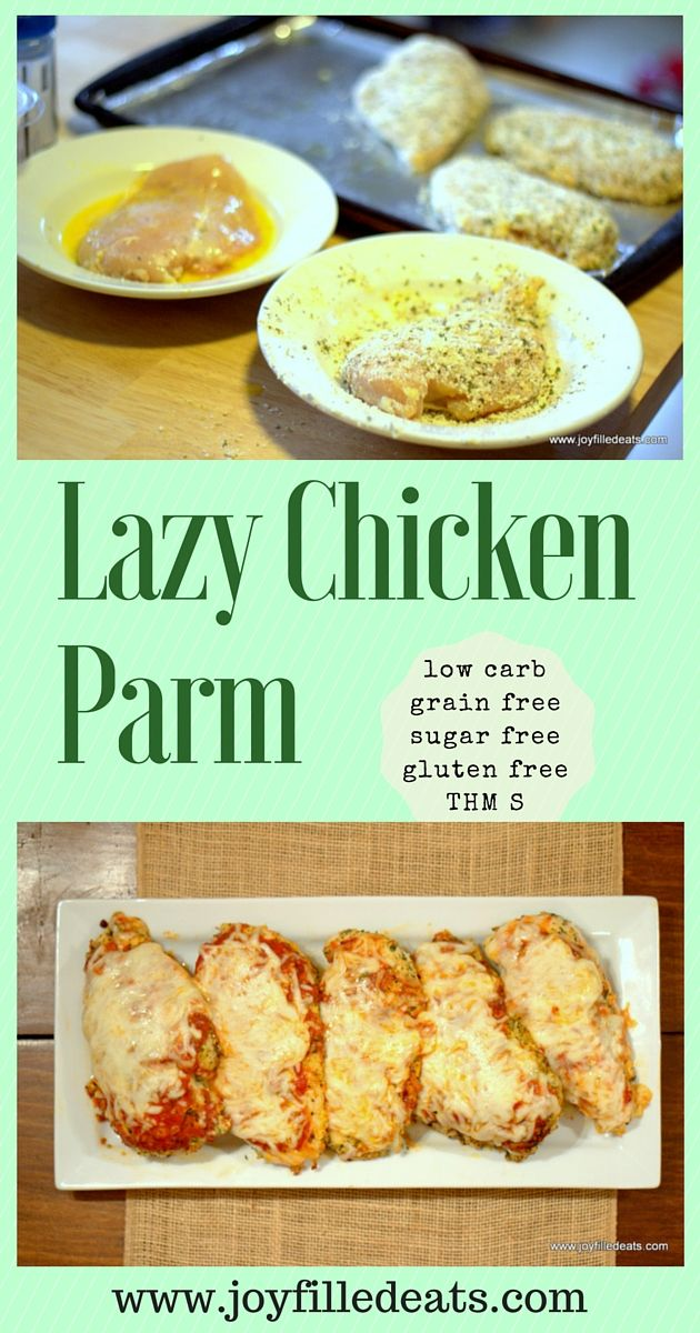 Chicken Parm is one of the dishes at every Italian restaurant in the US. I know why: it's delicious! My version is fast, grain free, low carb, & a THM S. via @joyfilledeats