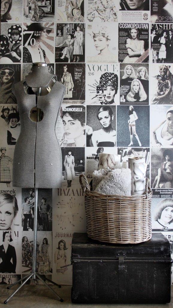 Vintage mannequin. Victorian black trunk. Old basket. Fashion Covers mural / Fashion Collection. Styling: Scandinavian Wallpaper & Décor. Photograph: Gemma Lovitt.