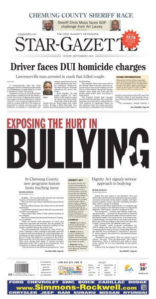 Exposing the hurt in bullying, Elmira Star-Gazette, by Joanne Coughlin Walsh #newsdesign