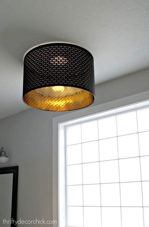 Using A Lamp Shade As A Light Fixture Ikea Lamp Shade Ceiling Lamp Shades Diy Light Fixtures