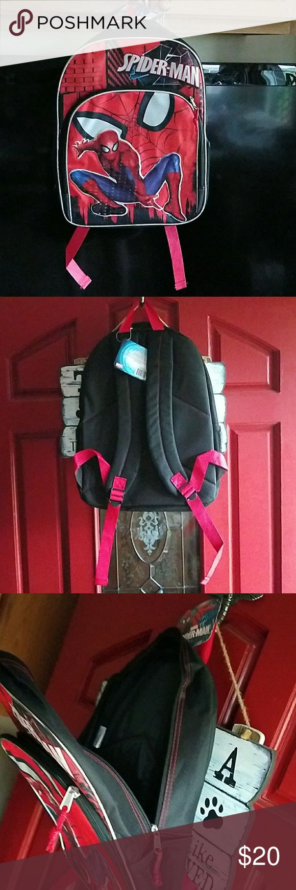 BNWT Spiderman book bag/back pack Has 2 zipper parts and 2 side mesh compartments Marvel Accessories