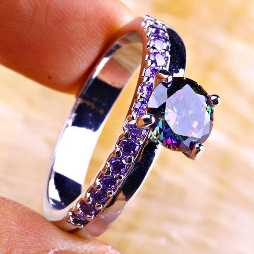 retro design 925 Silver - Amethyst and Mystic Topaz (treated for rainbow effect!)| CH003 |We combine shipping|No Question Refunds|Bid $60 for free shipping. Starting at $1