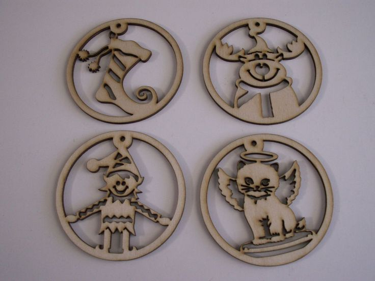 Christmas Ornaments, 4 Piece Set,Laser Cut Outs,Unfinished Wood,Ornaments,Tags