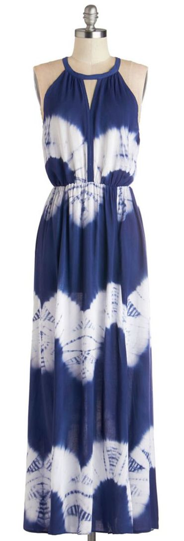 Navy and White Tie Dyed Maxi Dress - ok, most of the dresses I buy are blue....yea, but I love the color! And this one is really cute!