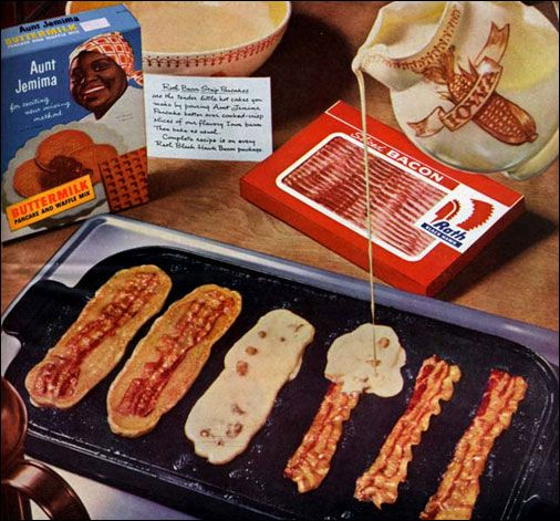 1962 recipe.. Bacon Strip Pancakes, from the Aunt Jemima box:): Bacon Pancakes, Baconpancak, Strips Pancakes, Idea, Bacon Strips, Lifehacks, Life Hacks, Favorite Recipes, Pancakes Batter