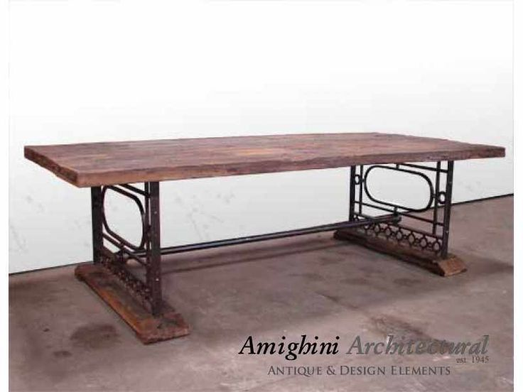 Unique And Rustic, This Large Table Is Made From Salvaged Wood And  Repurposed Antique Wrought