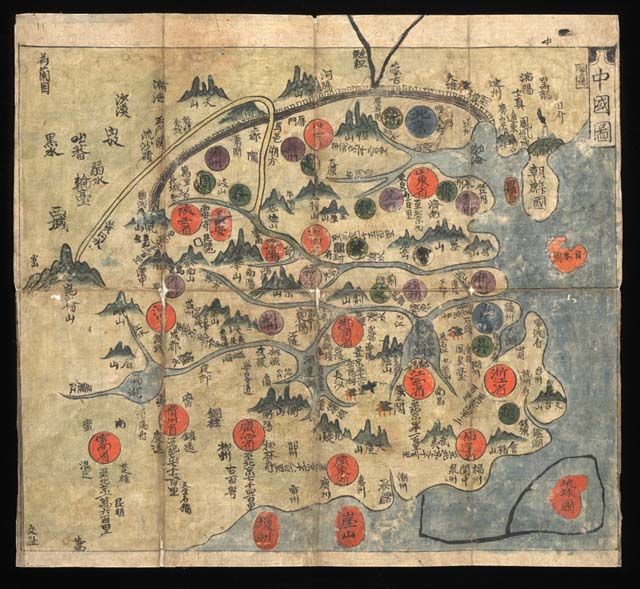 Choson Kukto (Map of China)   from Chonha Chido (Map of the World).   Hand-copied manuscript map.   Korea: mid-eighteenth century.