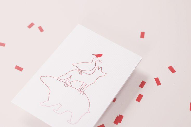 SAAR birth announcement letterpress card red animals by studio sijm