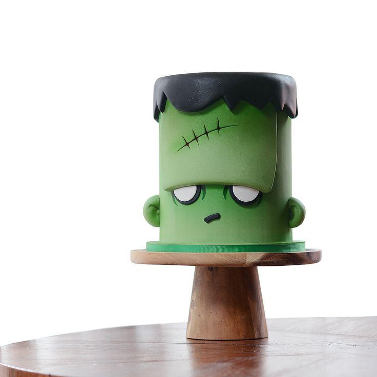 ❥Halloween | Green Frankenstein Halloween cake by Meng Jo Fong!