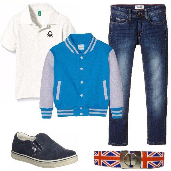 Jeans slim, polo Benetton, giacca stile collage multicolore, mocassino blu e cintura stampata. Outfit perfetto per la scuola e il tempo libero e che renderà il nostro bambino impeccabile.