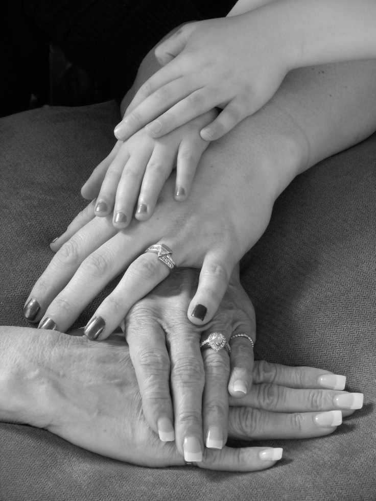 Our version of a generations photo.  Thanks for the idea Pinterest!  (my son, my daughter, mine, and my mom's hands)