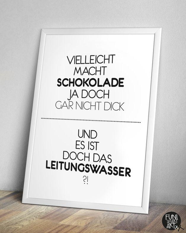 Typo/Druck Schokolade, lustig // poster/print chcocolate via DaWanda.com