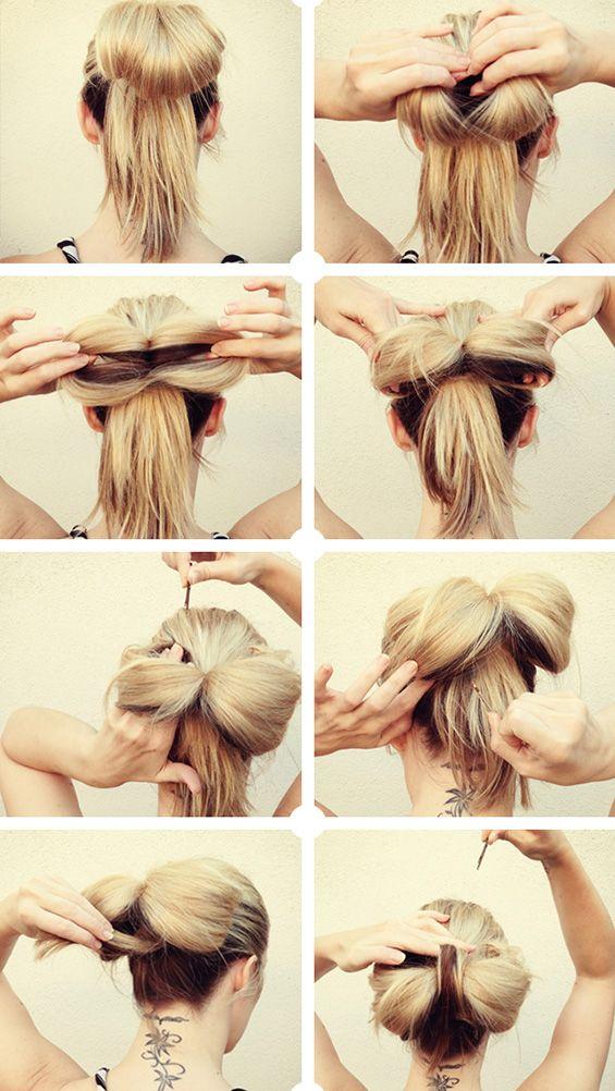 bow bun. I think this is a better showing of how to do a bow bun