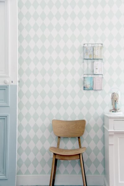 Decorate your nusery like Madam Stoltz with our ferm LIVING Harlequin Wallpaper in a douche mint color. http://www.fermliving.com/webshop/shop/harlequin-wallpaper-mint.aspx