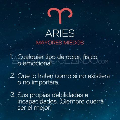 Mayores miedos: Aries