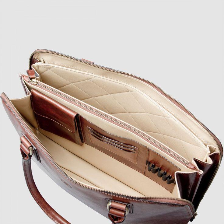 The Fiorella : Luxury Italian Leather Briefcase Bag for Macbook / Laptop