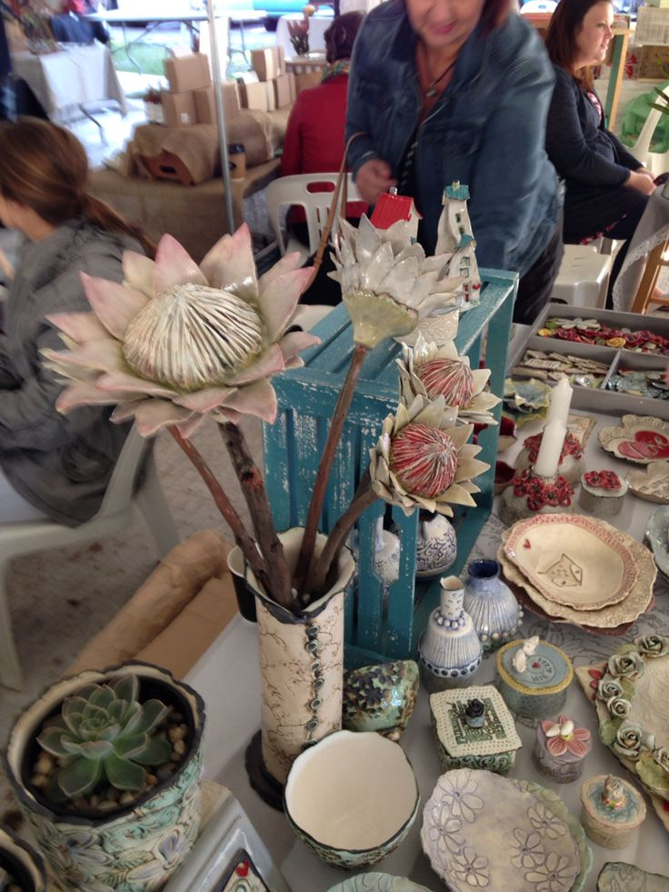 Ceramic proteas by Eleanor Gillitt