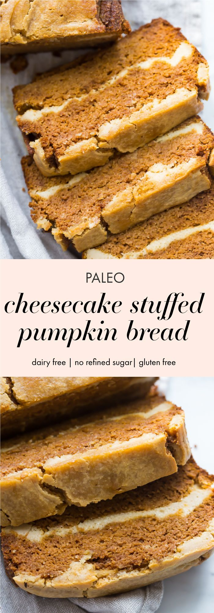 This paleo cheesecake stuffed pumpkin bread is a tender and spiced paleo pumpkin bread, layered with a sweet, dairy-free cream cheese filling. One of my very favorite paleo fall recipes, this paleo cheesecake stuffed pumpkin bread is an absolute must-make this fall! Guarantee it will become one of your favorite paleo fall recipes, too! #pumpkin #fallrecipes #paleo