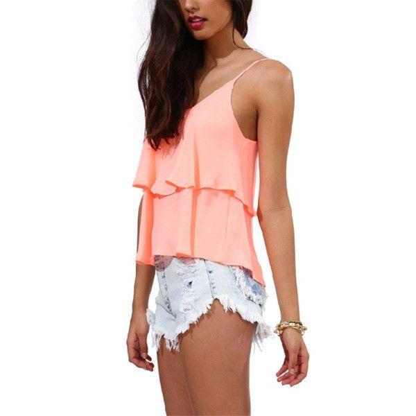 Women Spaghetti Strap Vest Summer Ruffled Blouses Chiffon Shirt Tank Tops S-XXL