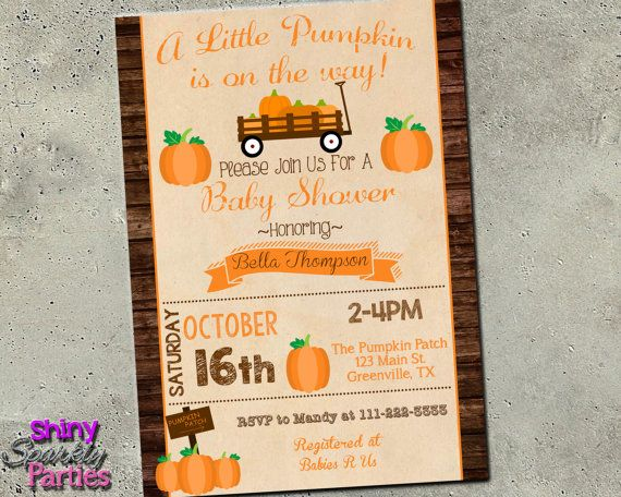 PUMPKIN Baby SHOWER INVITATION - Little Pumpkin Shower Invite - Fall Baby Shower…