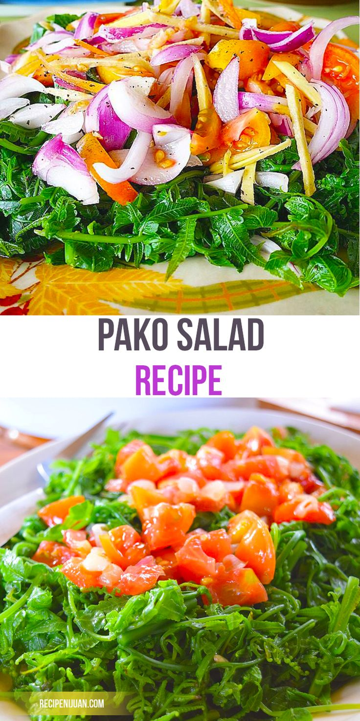 The Pako Salad recipe (Paco) is one of the fern vegetables that Filipinos love to eat. This vegetable which has a scientific name of Athyrium Esculentum is usually eaten as a Salad or as a side dish to a main viand.
