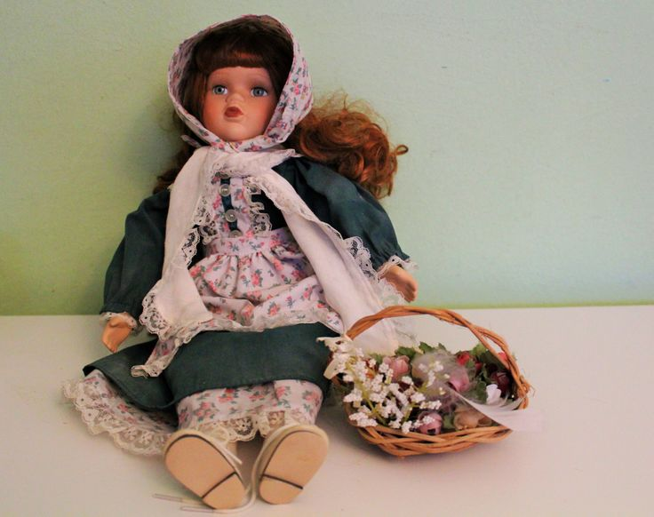 Vintage Porcelain Doll With Flowers and Original Box, Alberon Brand Doll by Grandchildattic on Etsy