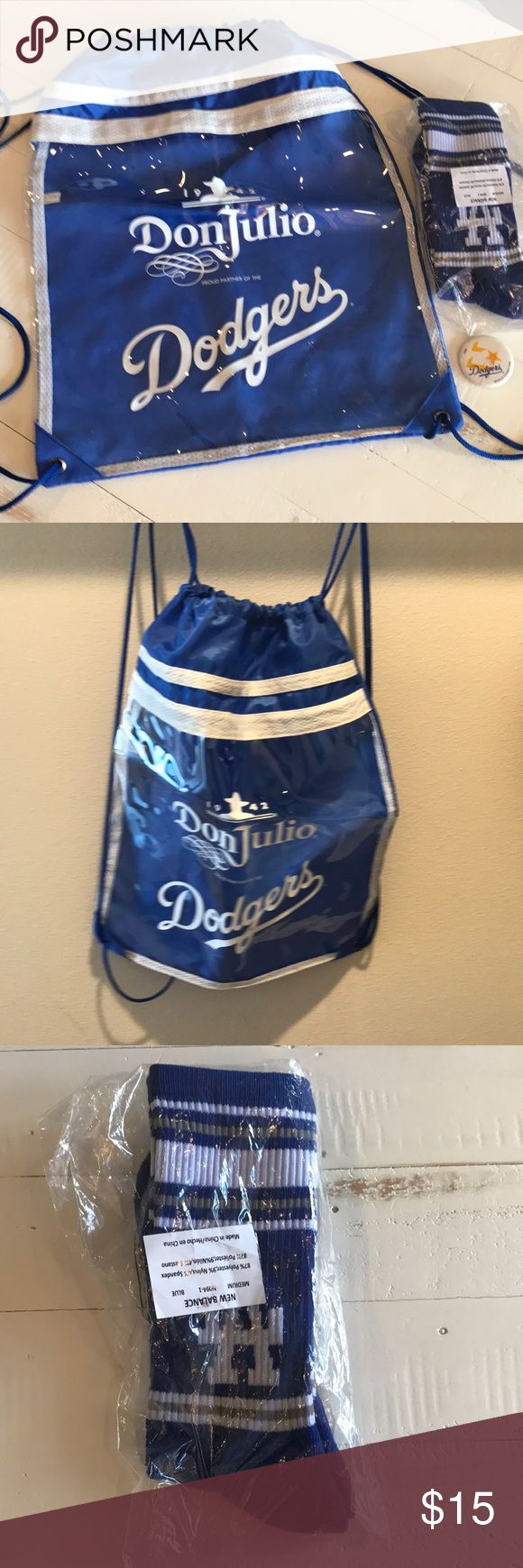 Dodger Bundle New! Don Julio Promotional Dodger Backpack, New Balance Dodger Socks & 1988 World Champion Pin.  The socks are size Medium. Dodger Accessories