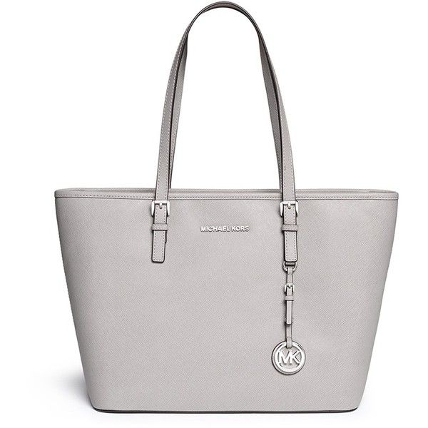 Michael Kors 'Jet Set Travel' saffiano leather top zip tote (3.839.640 IDR) ❤ liked on Polyvore featuring bags, handbags, tote bags, purses, accessories, grey, zip top tote, saffiano leather tote, gray tote and michael kors handbags
