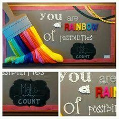 Back to school bulletin boards. Self esteem, rainbows, 3d art, bulletin boards, paint brush.  Elementary school.