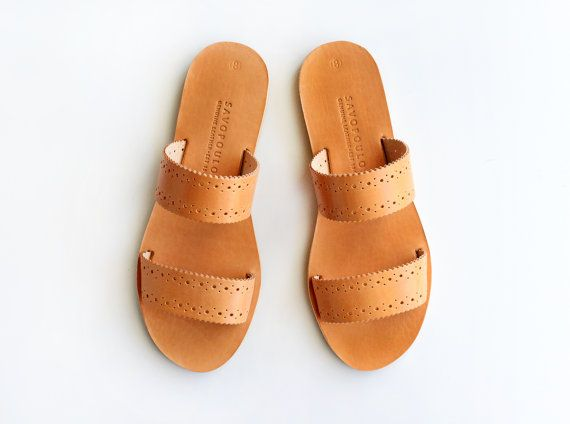 MIRANDA. Leather sandals Two strap sandals Greek by SAVOPOULOS