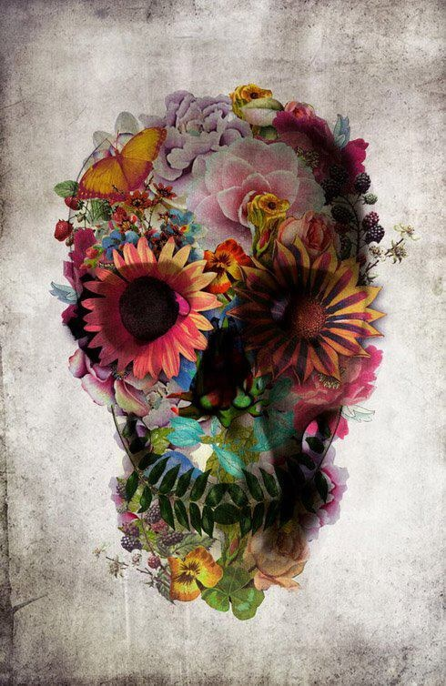 """Flower's skull! I think I just might get this, but make it a little """"girlier""""! Haha!"""