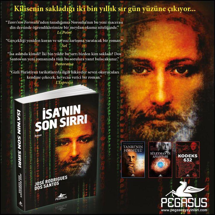 #YENİKİTAP  İSA'NIN SON SIRRI - JOSÉ RODRIGUES DOS SANTOS  Kilisenin sakladığı iki bin yıllık sır gün yüzüne çıkıyor...   Yazar Jose Rodrigues Dos Santos'un Tükçede yayımlanmış diğer kitapları; 1. Tanrı'nın Formülü 2. Süleyman'ın Anahtarı 3. Kodeks 632  Özgün Adı: O Último Segredo Çeviri: Hasan Can Utku Tür: Roman Sayfa: 488 Satış Tarihi: 19 Ocak Kitabı incelemek ve satın almak için: