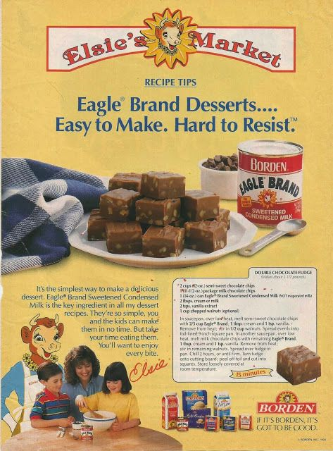 Double-Chocolate Fudge recipe from 1993 Borden advertisement 2 cups (12 oz.) semi-sweet chocolate chips 1 (11 1/2 oz.) package milk chocolate chips 1 (14 oz.) can Eagle Brand Sweetened Condensed Milk (not evaporated milk) 2 tbsp. cream or milk 2 tsp. vanilla extract 1 cup chopped walnuts (optional) In saucepan,...