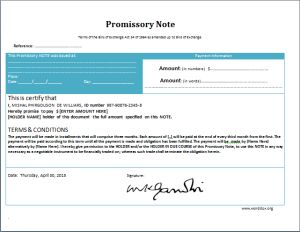 Promissory note form at worddox.org