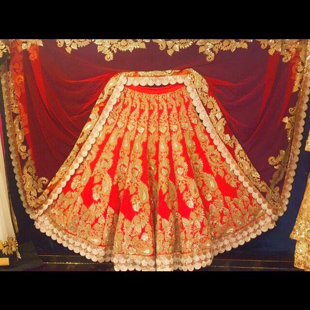 Red Bridal glamorous Lehenga for modern brides from Ranas Legacy Jaipur Rajasthan !  Gold embellished, pearl cutwork , indian wedding , Indian bridal ! Weddingsutra , wedmegood , asiaweddings