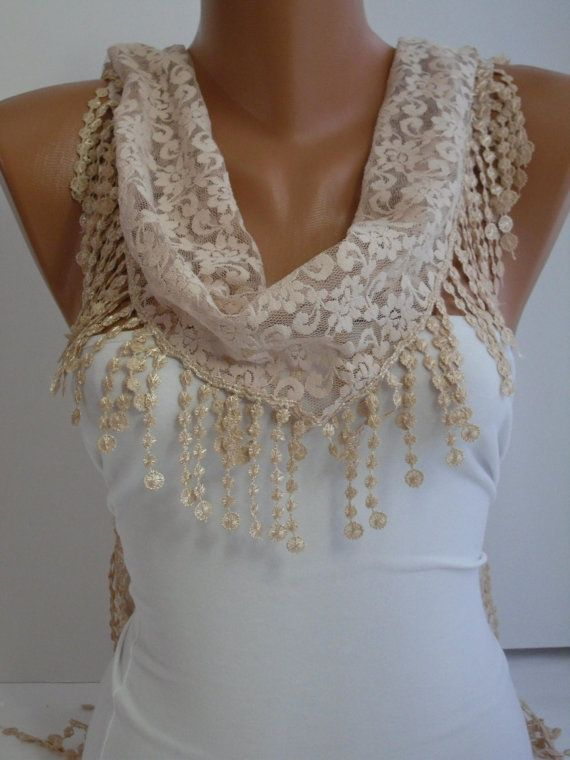 Cream Ivory Lace Scarf Shawl Headband  Cowl with Lace by DIDUCI, $19.00