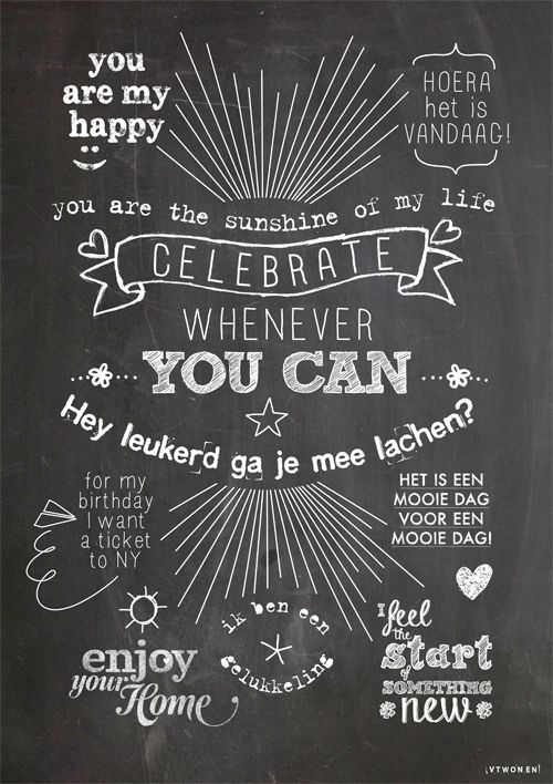 Celebrate whenever you can #vtwonen #vtwonen50jaar #happyposter #poster #quote #celebrate