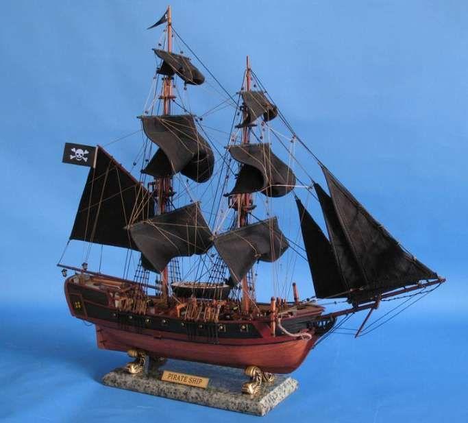 "real pirate ships | Caribbean Pirate Ship 37"" Black Sail ..."