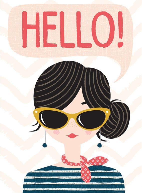 hello girl card