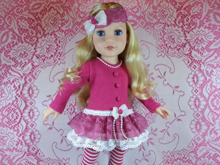 Meredith Journey Girl, wearing Salstuff long sleeved knit dress in deep pink with double layer of lace frills. Faux pearls hand sewn at neckline, organza bow trim and self covered buttons. With Lace Headband. Find Sally Channon on Facebook UK and also Salstuff on Ebay.