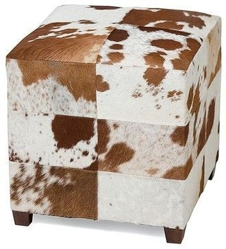 Remington Cowhide Square Ottoman - traditional - ottomans and cubes ...